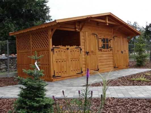 Domek narzędziowy z garażem i drewutnią